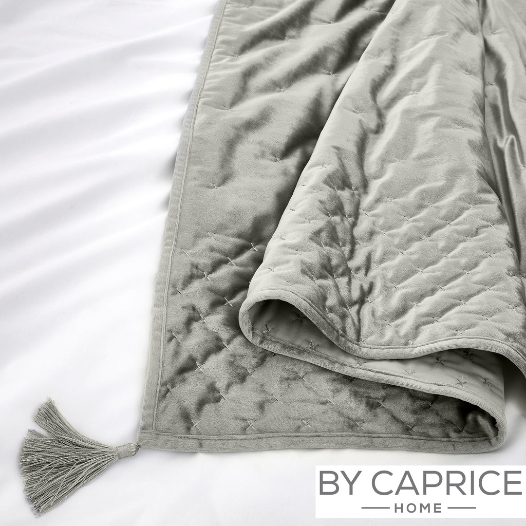 Loren - Silver Cross-stitched Velvet Bedspread - By Caprice Home