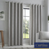 Lowe - Textured stripes Jacquard Eyelet Curtains in Charcoal - By Curtina