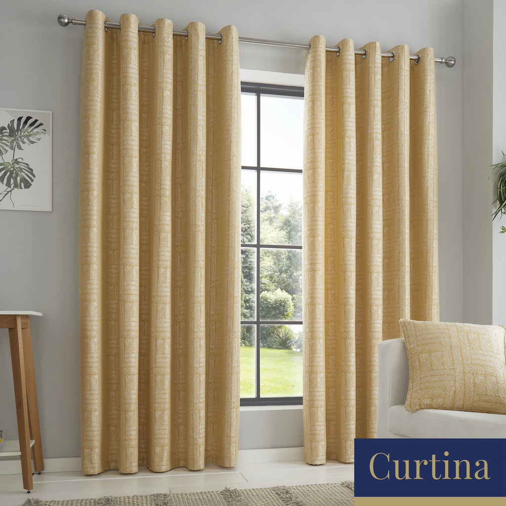 Lowe - Textured stripes Jacquard Eyelet Curtains in Ochre - By Curtina