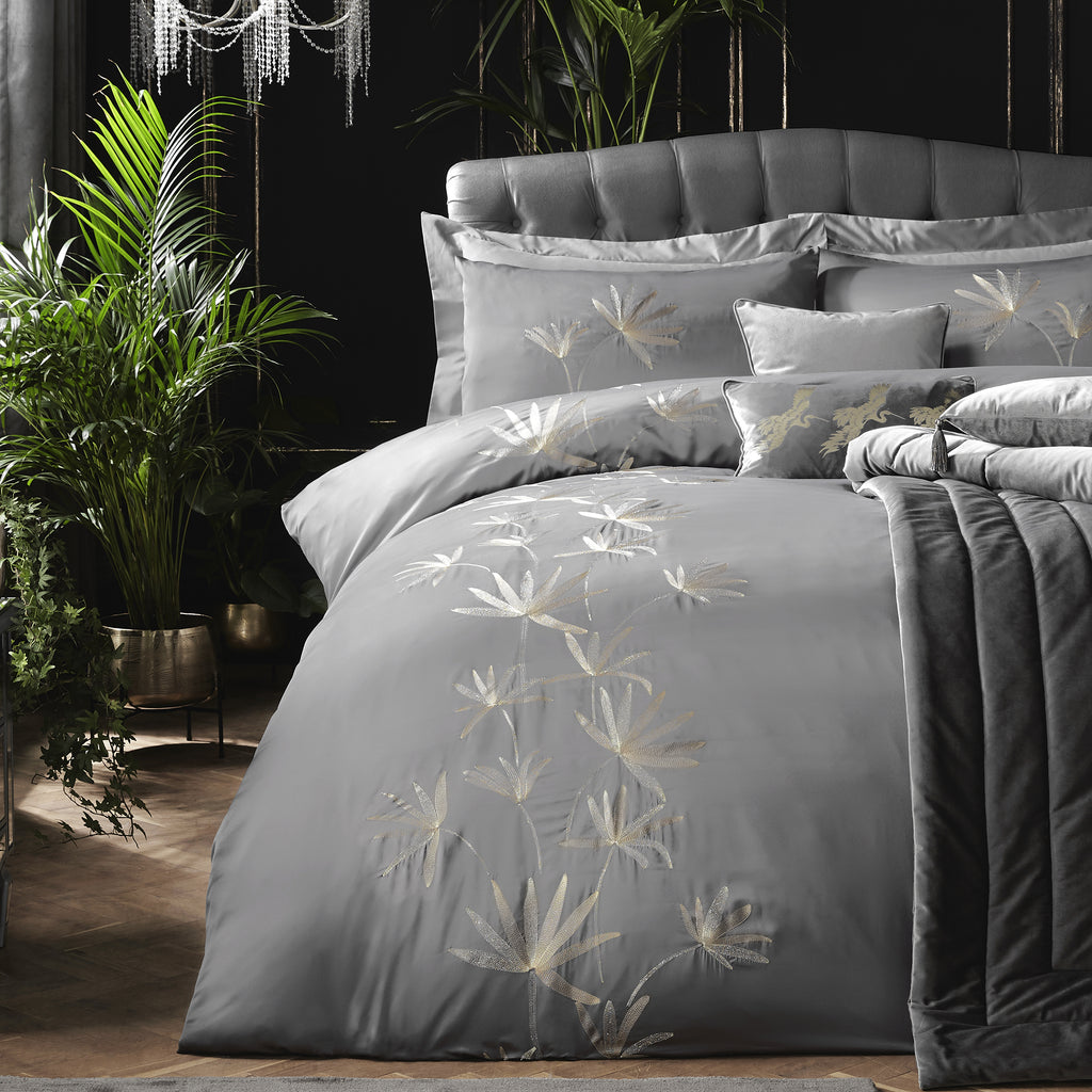Luxor - Matt Satin Embroidered Duvet Cover Set by Laurence Llewelyn-Bowen