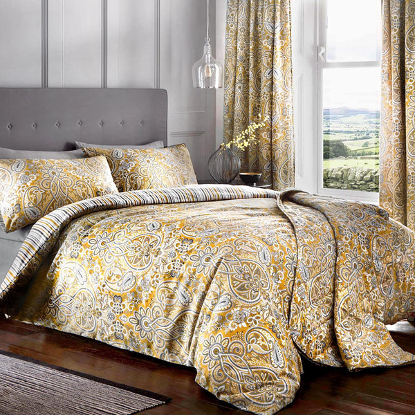 Maduri Ochre - Easy Care Floral Scroll Bedding & Curtains - by Dreams & Drapes