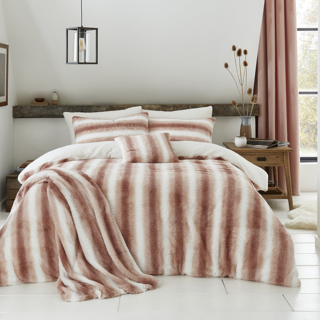 Mae - Fur Lined Fleece Duvet Cover Set in Blush - By Caprice Home