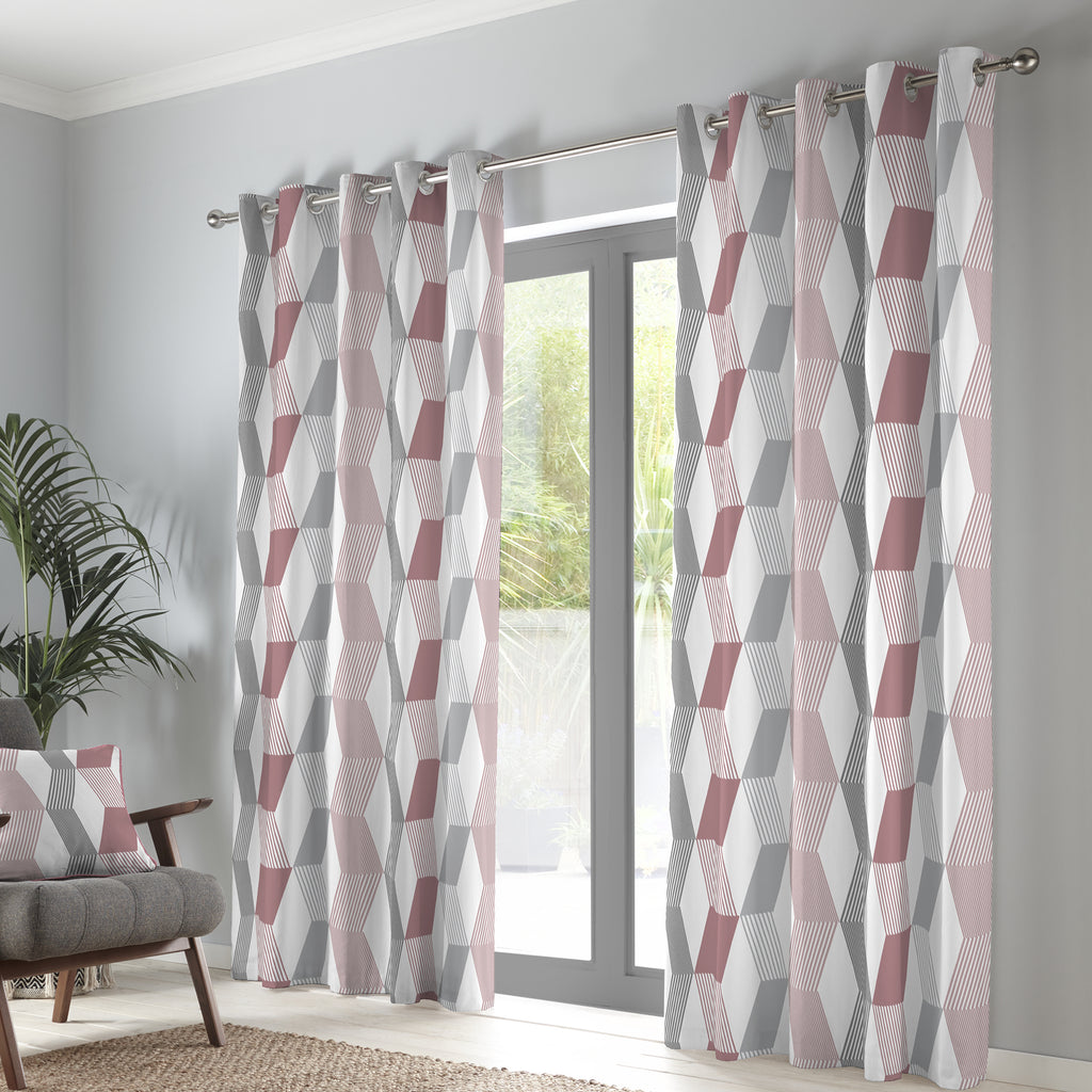 Magna - 100% Cotton Pair of Eyelet Curtains in Blush - by Fusion