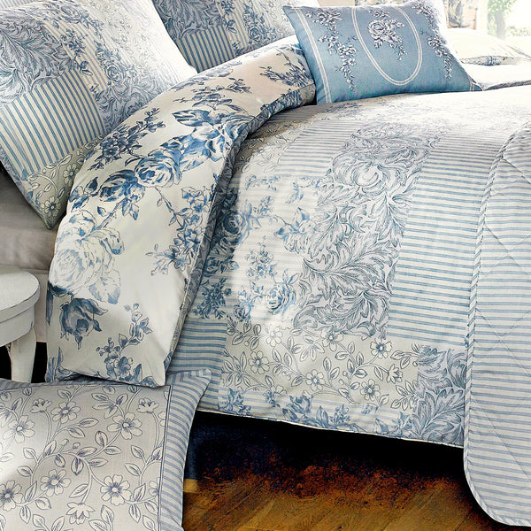 Malton Blue - Easy Care  Bedding & Curtains - by Dreams & Drapes