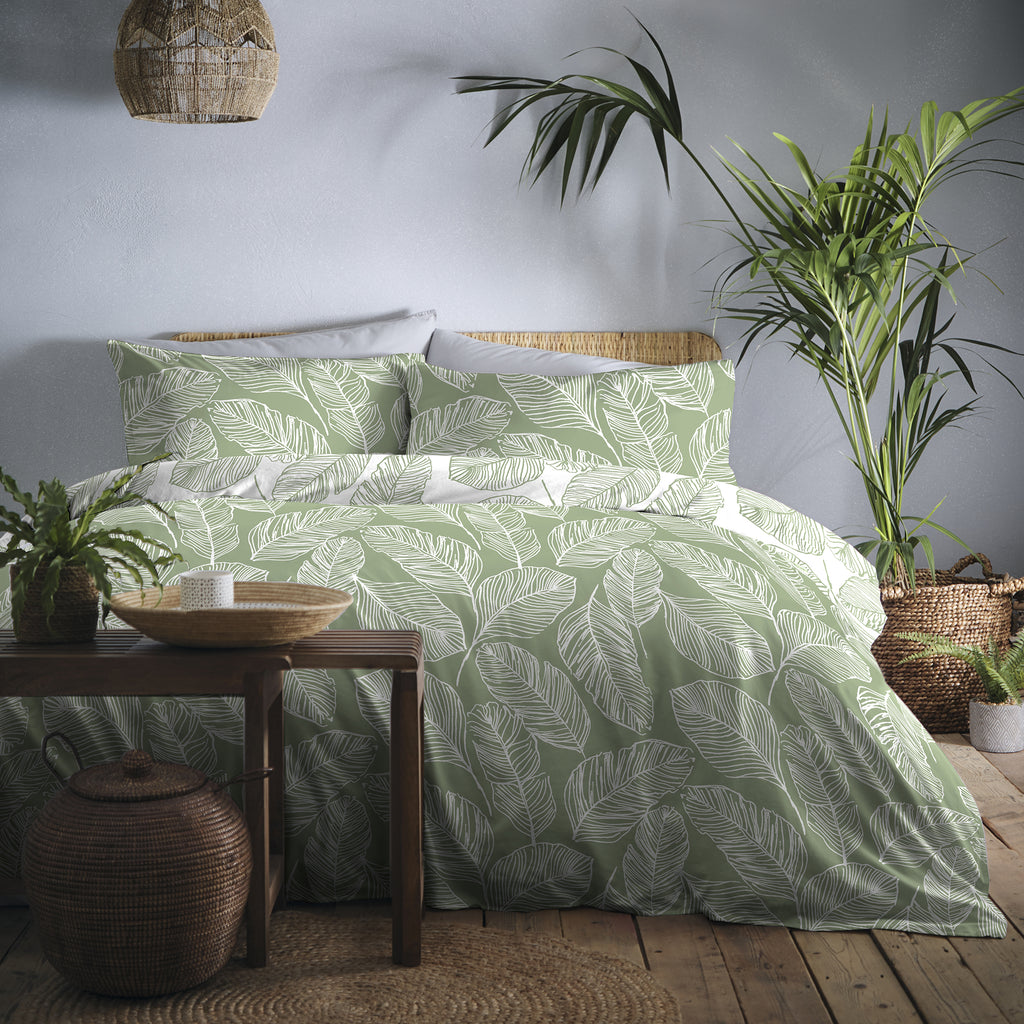 Matteo - Easy Care Duvet Cover Set in Green - By Fusion