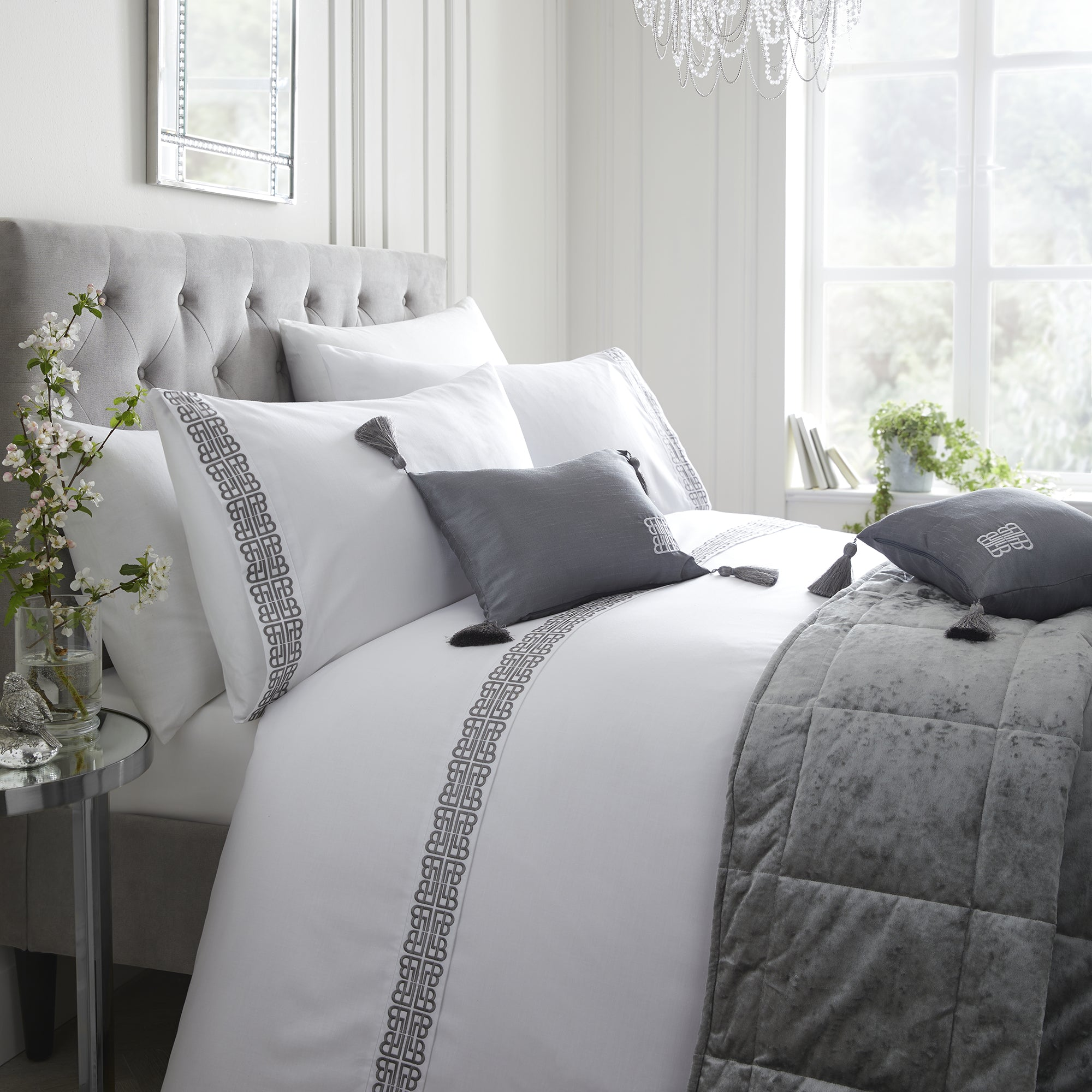 Monoglam - Embroidered Pleat Duvet Cover Set by Laurence Llewelyn-Bowen