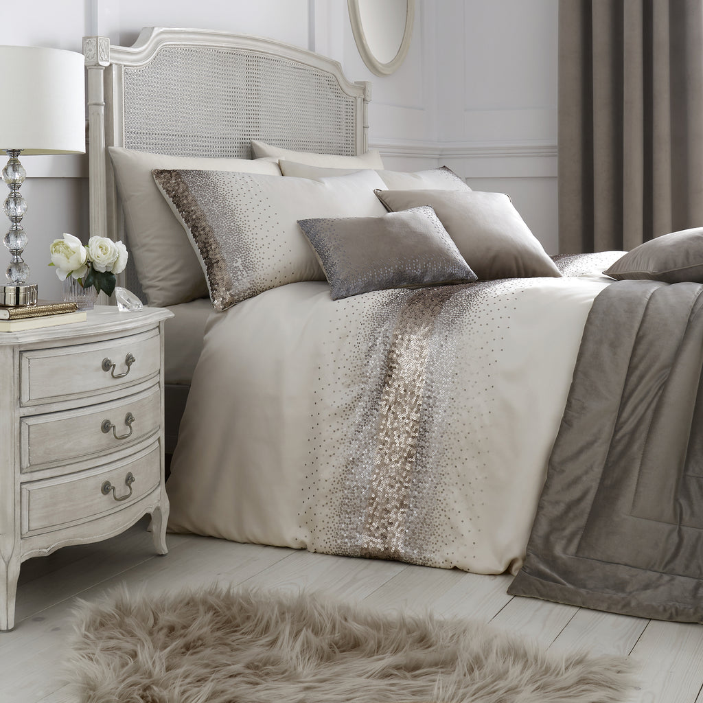 Monroe - Sequin trim Duvet Cover Set in Oyster - By Caprice Home