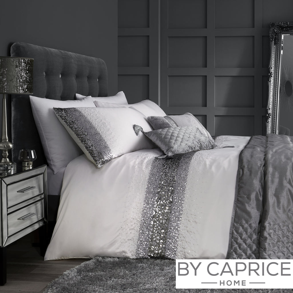 Monroe - Silver Duvet Cover Set - By Caprice Home