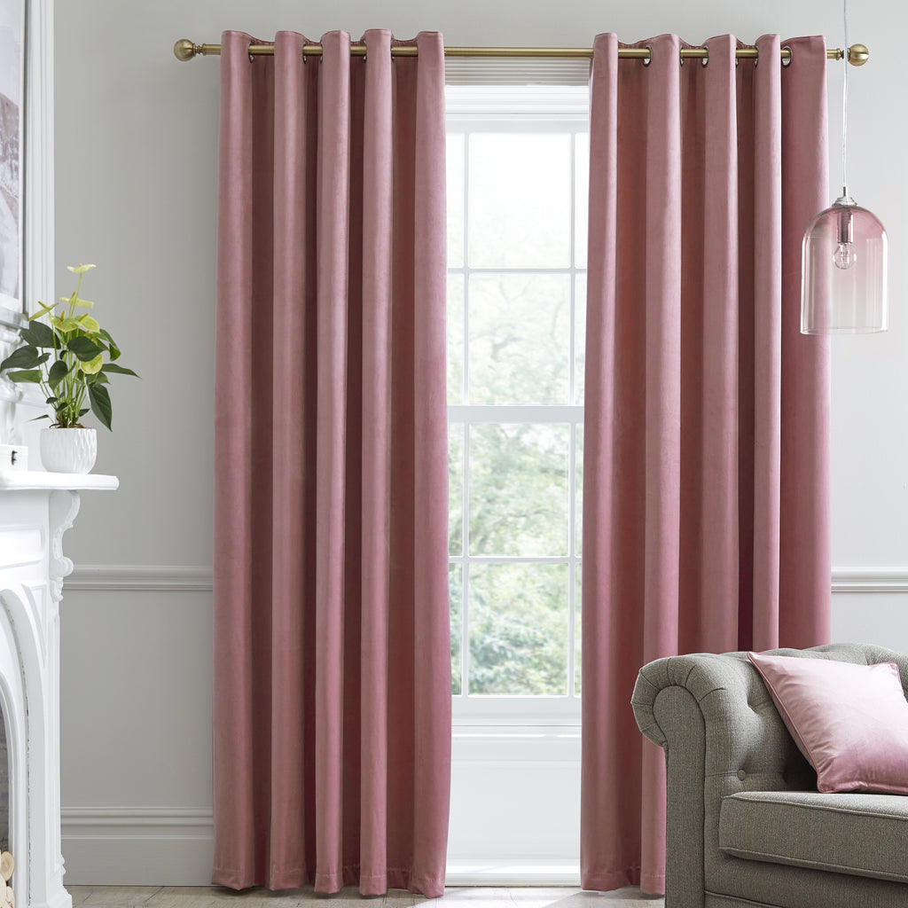 Montrose -  Blackout Velvet Eyelet Curtains in Blush - Laurence Llewelyn-Bowen