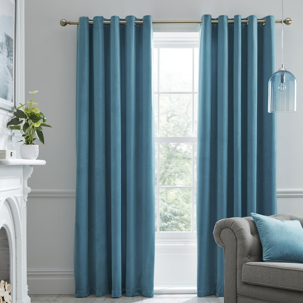 Montrose -  Blackout Velvet Eyelet Curtains in Duck Egg - Laurence Llewelyn-Bowen
