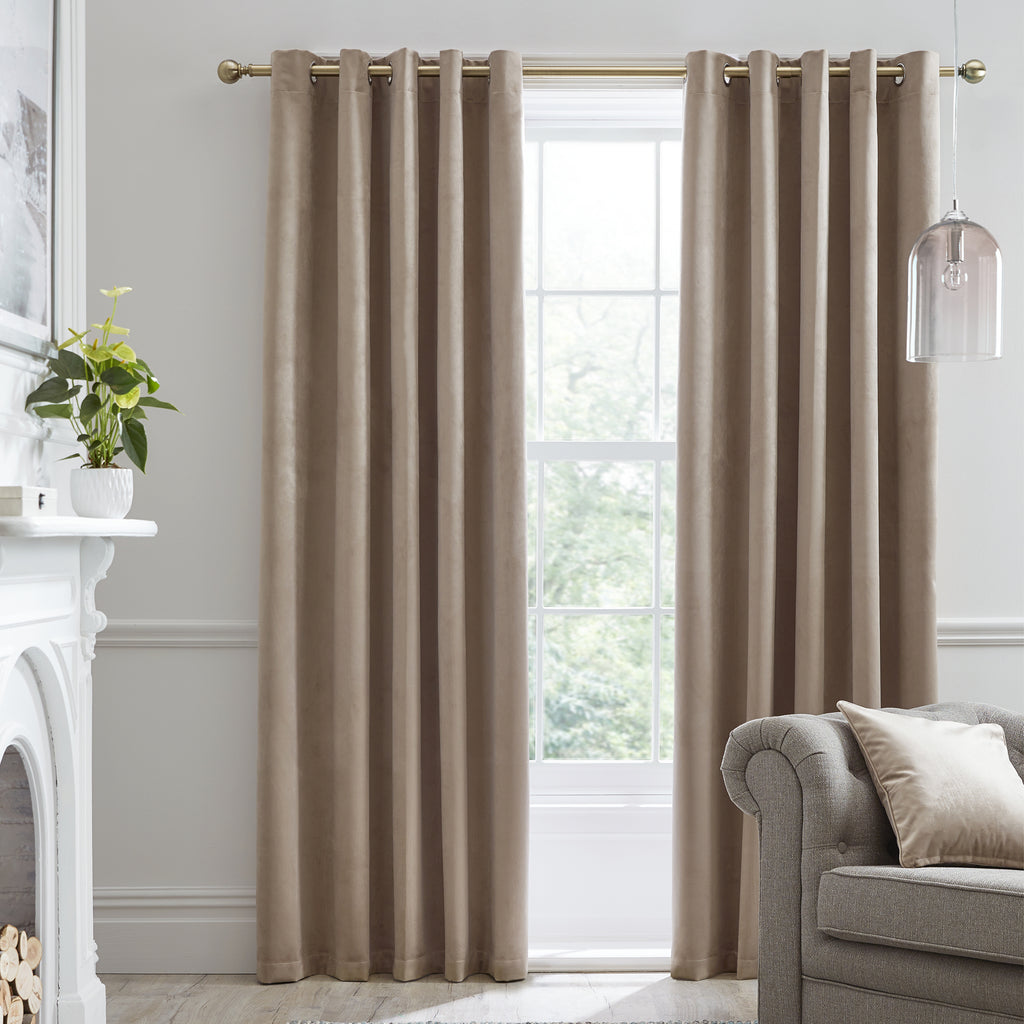 Montrose -  Blackout Velvet Eyelet Curtains in Linen - Laurence Llewelyn-Bowen