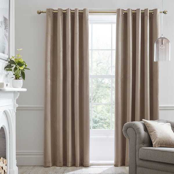 Montrose -  Blackout Velvet Eyelet Curtains in Linen -  by J Rosenthal & Son