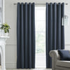 Montrose - Velvet Blackout Pair of Eyelet Curtains in Navy - by J Rosenthal & Son