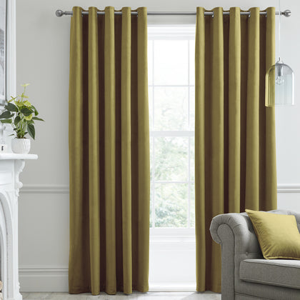 Montrose - Velvet Blackout Pair of Eyelet Curtains in Ochre - by Laurence Llewelyn-Bowen