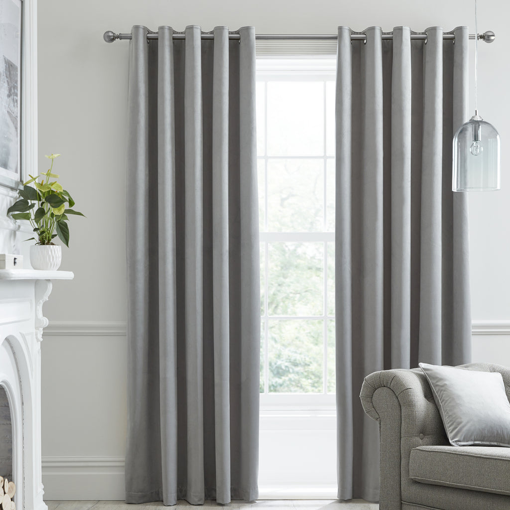 Montrose -  Blackout Velvet Eyelet Curtains in Silver -  by J Rosenthal & Son