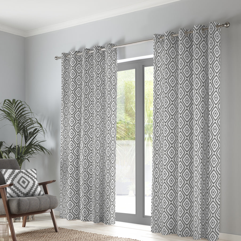 Navaho - 100% Cotton Pair of Eyelet Curtains in Charcoal - by Fusion