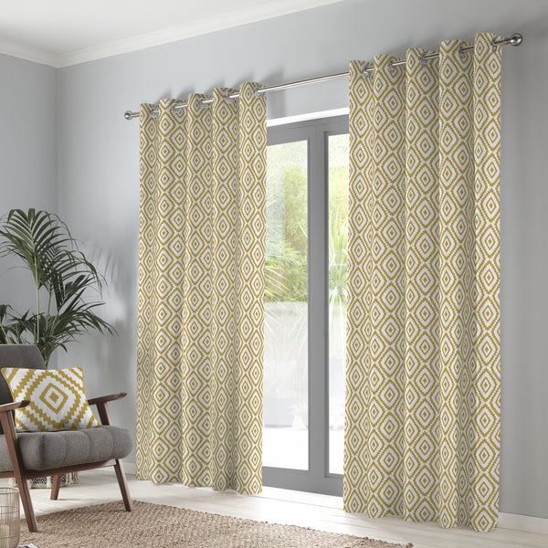Navaho - 100% Cotton Pair of Eyelet Curtains in Ochre - by Fusion