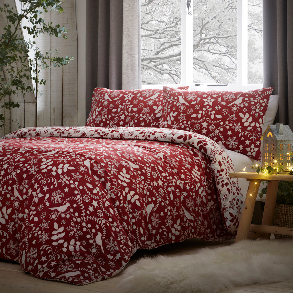Nordic - Brushed Cotton Duvet Cover Set in Red - By Fusion Christmas