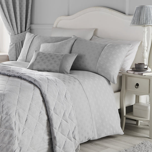 Nouveau Fan - Jacquard Duvet Cover Set, Curtains & Cushions in Silver - by Serene