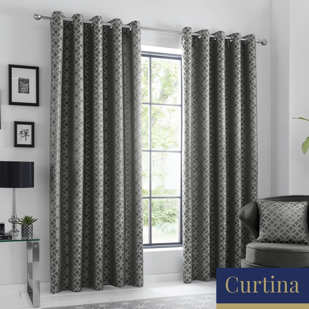 Oriental Squares - Geometric	Metallic Jacquard Eyelet Curtains in Charcoal - By Curtina