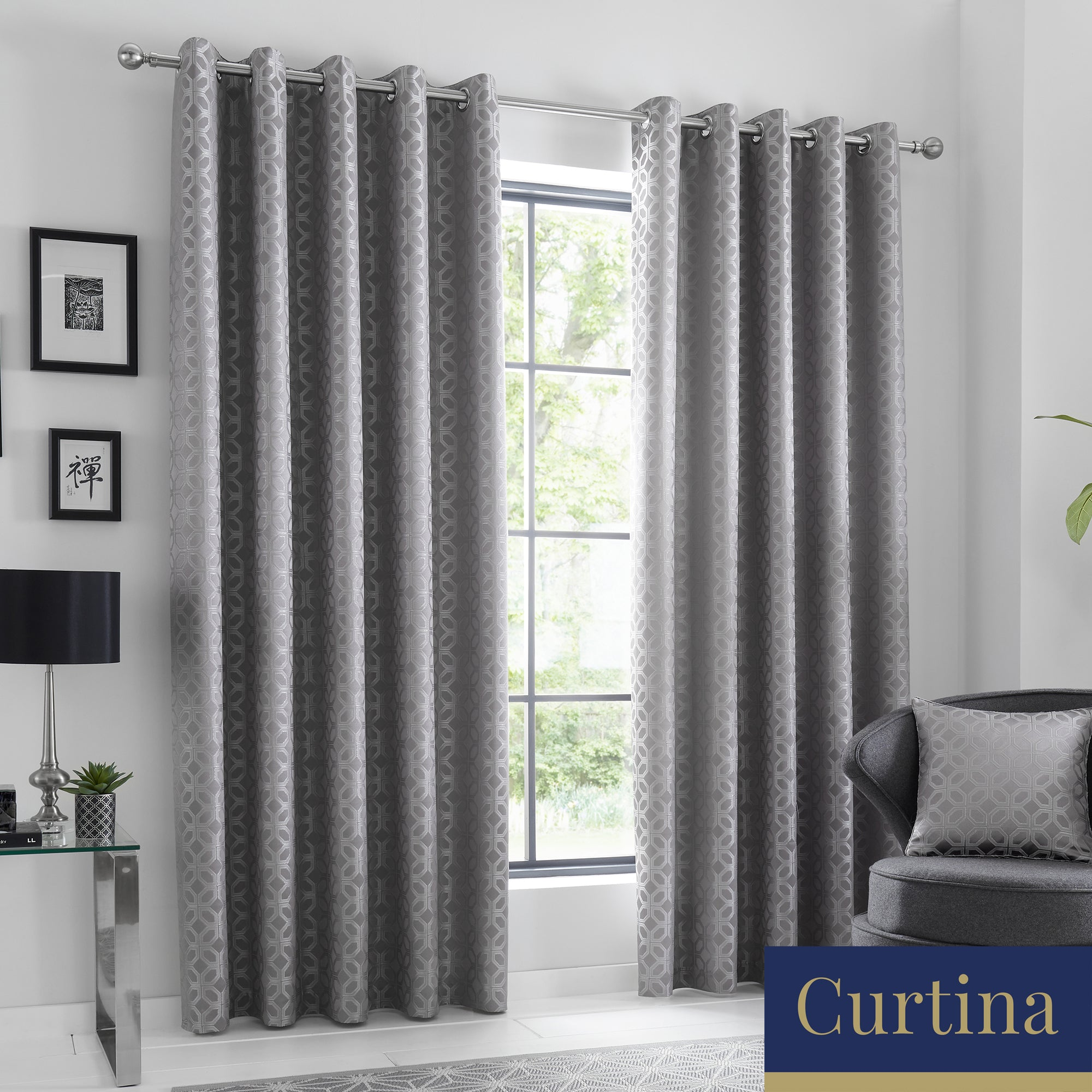 Oriental Squares - Geometric Metallic Jacquard Eyelet Curtains in Silver - By Curtina