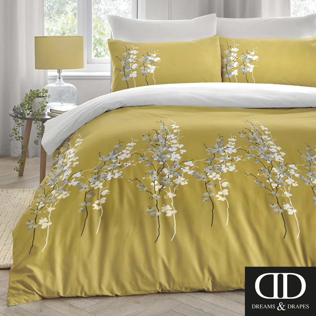 Oriental Flower - Easy Care Bedding in Ochre - by Dreams & Drapes