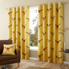 Pheasant - 100% Cotton Pair of Eyelet Curtains in Ochre - by Fusion