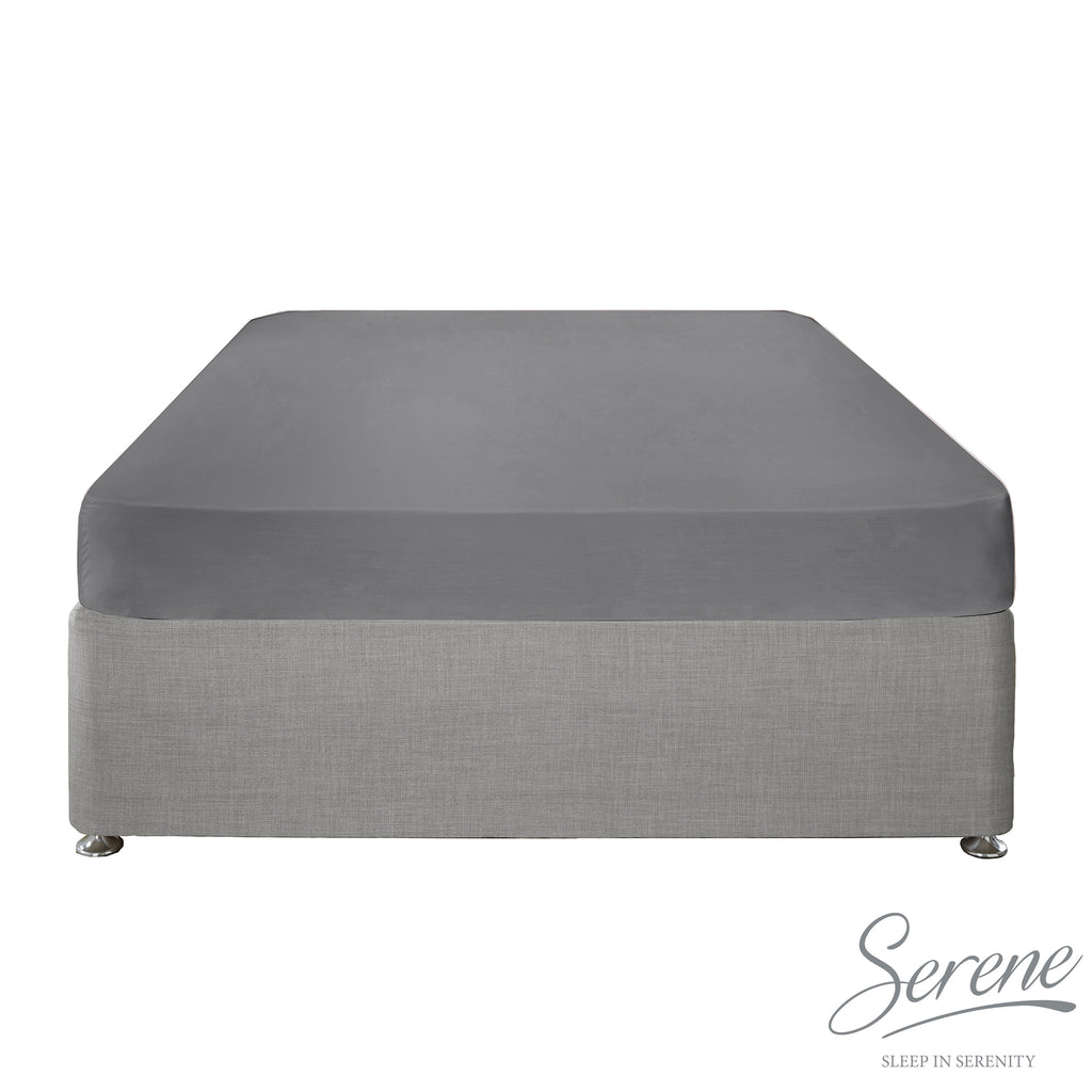 Plain Dye Easy Care Duvet Covers, Fitted Sheets & Pillowcases in Charcoal - by Serene