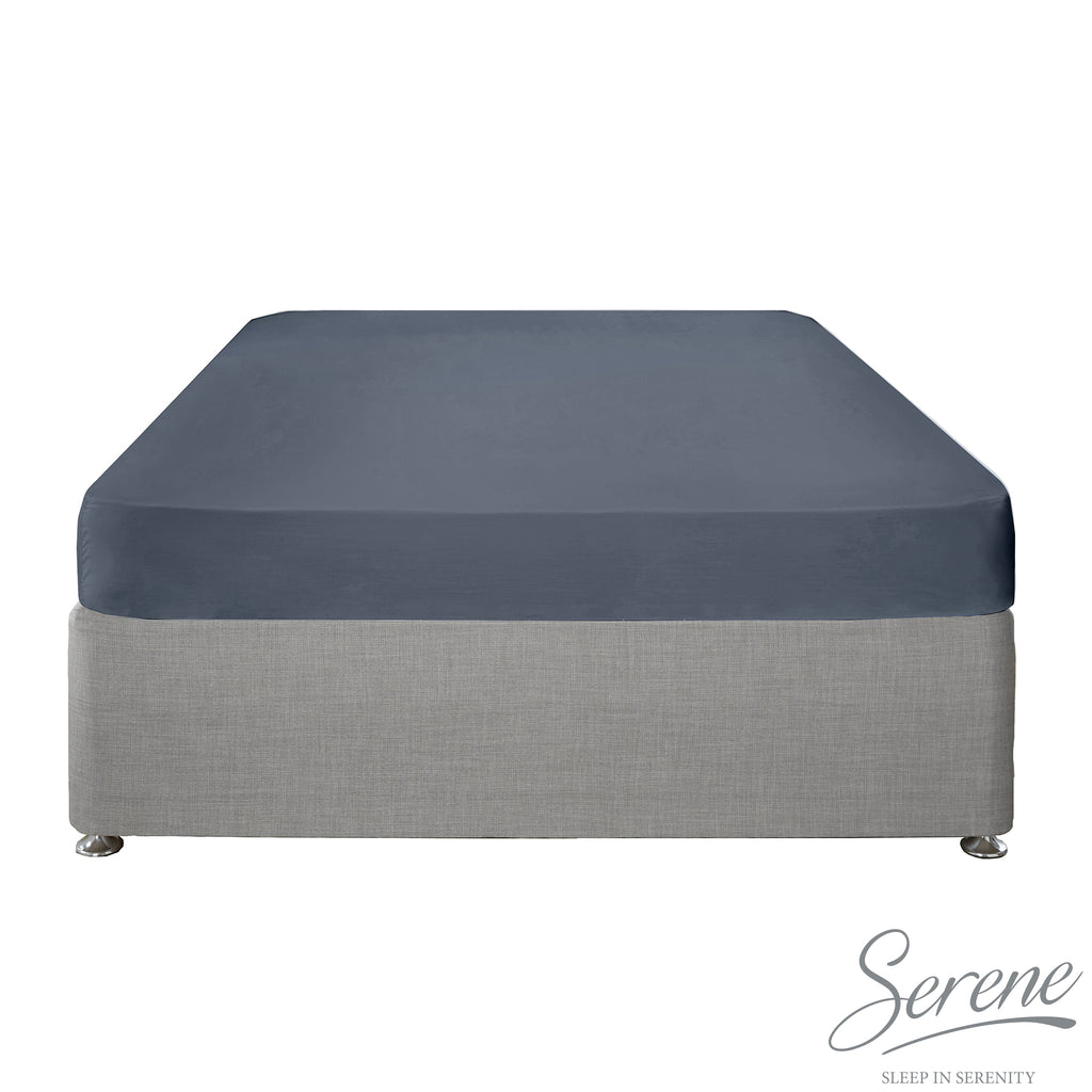 Plain Dye Easy Care Duvet Covers, Fitted Sheets & Pillowcases in Denim - by Serene