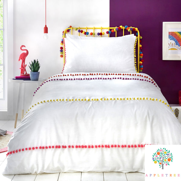 Pom Pom Stripe - 100% Cotton Duvet Cover Set by Appletree Kids