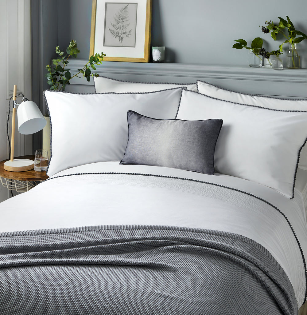 Pom Pom - 150 TC Easy Care Duvet Cover Set in Grey - by Serene