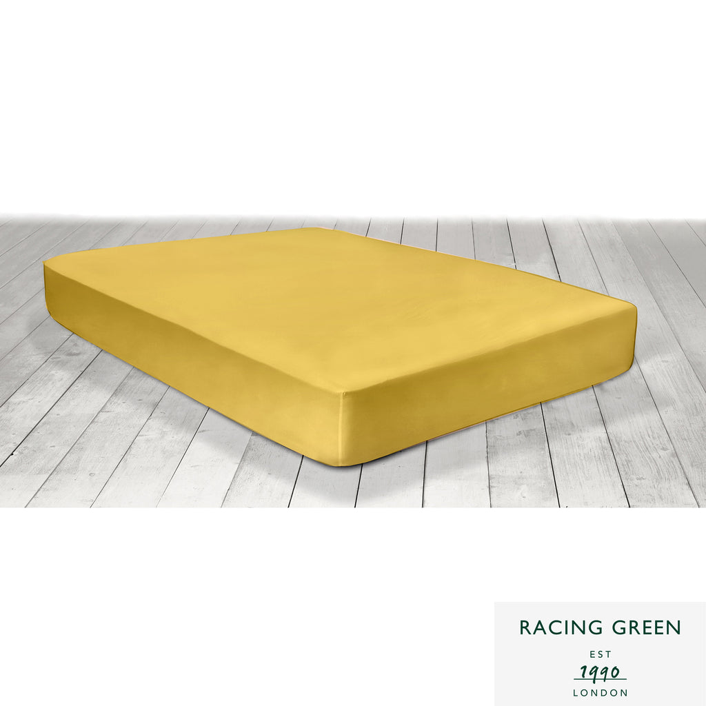 Plain Dye 100% Cotton Fitted Sheets & Pillowcases - in Ochre by Racing Green