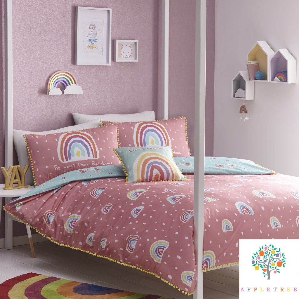 Rainbow Pom	Multicolour - 100% Cotton Duvet Cover Set by Appletree Kids