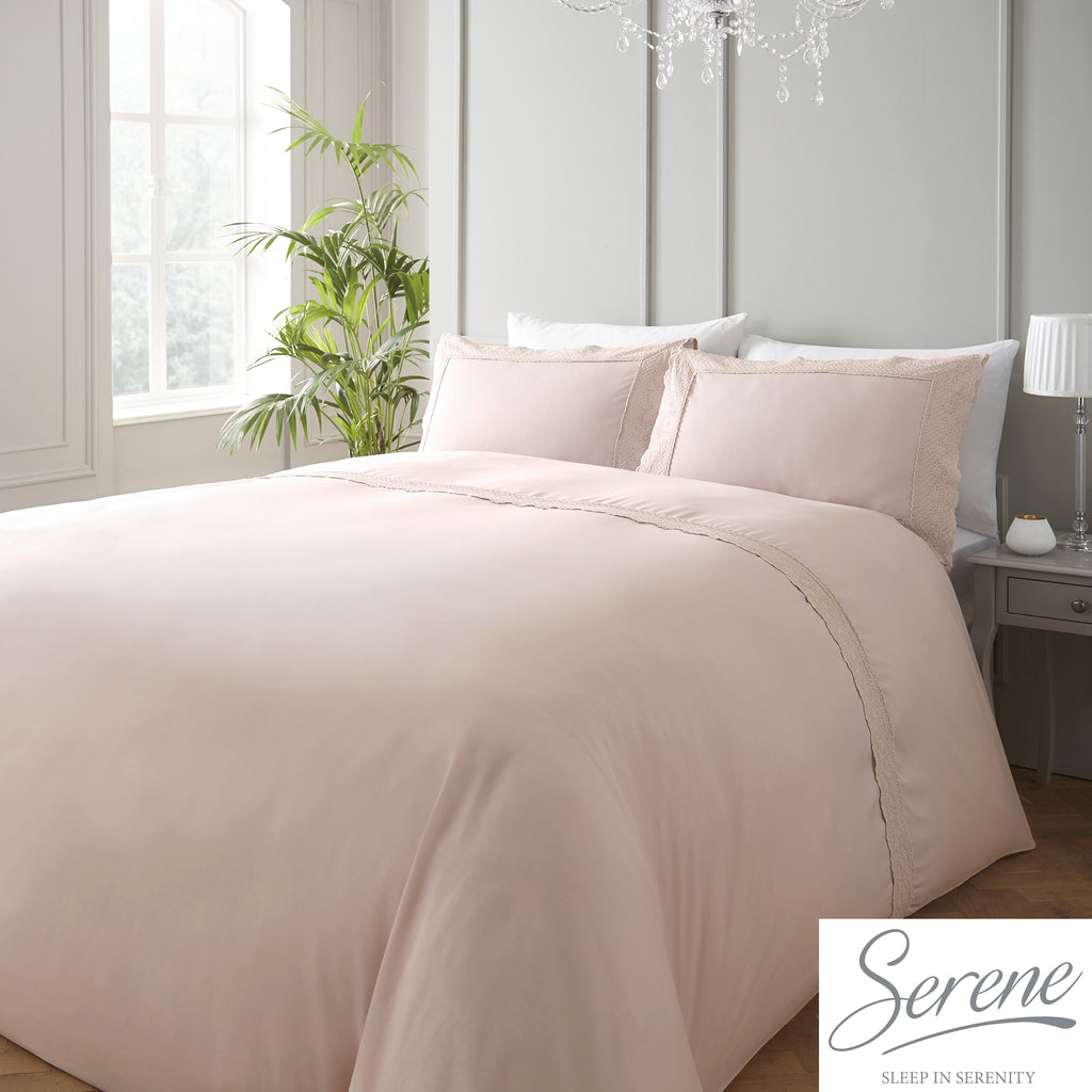 Renaissance - 150 TC Easy Care Lace Trim Duvet Cover Set in Blush - by Serene