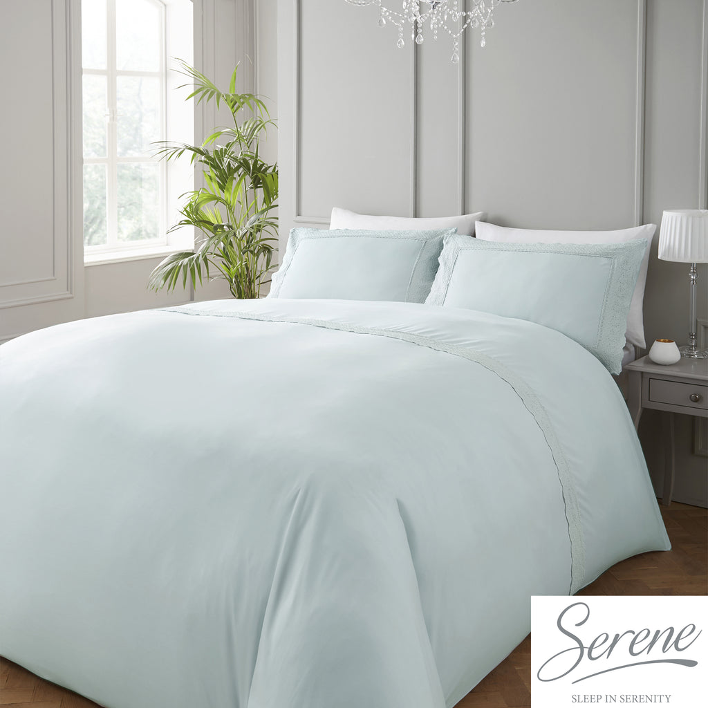 Renaissance - Easy Care Lace Trim Duvet Cover Set in Duck Egg - by Serene