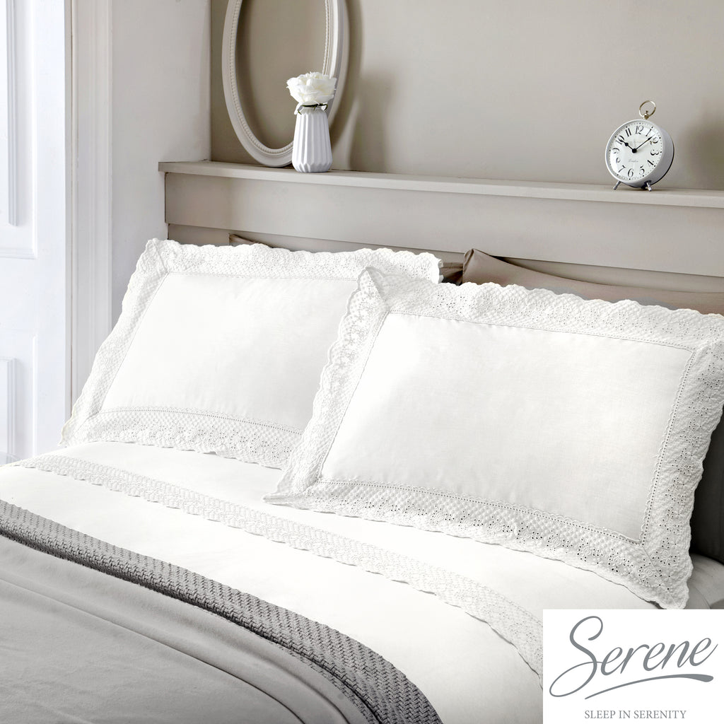 Renaissance - Easy Care Duvet Cover Set in White - by Serene