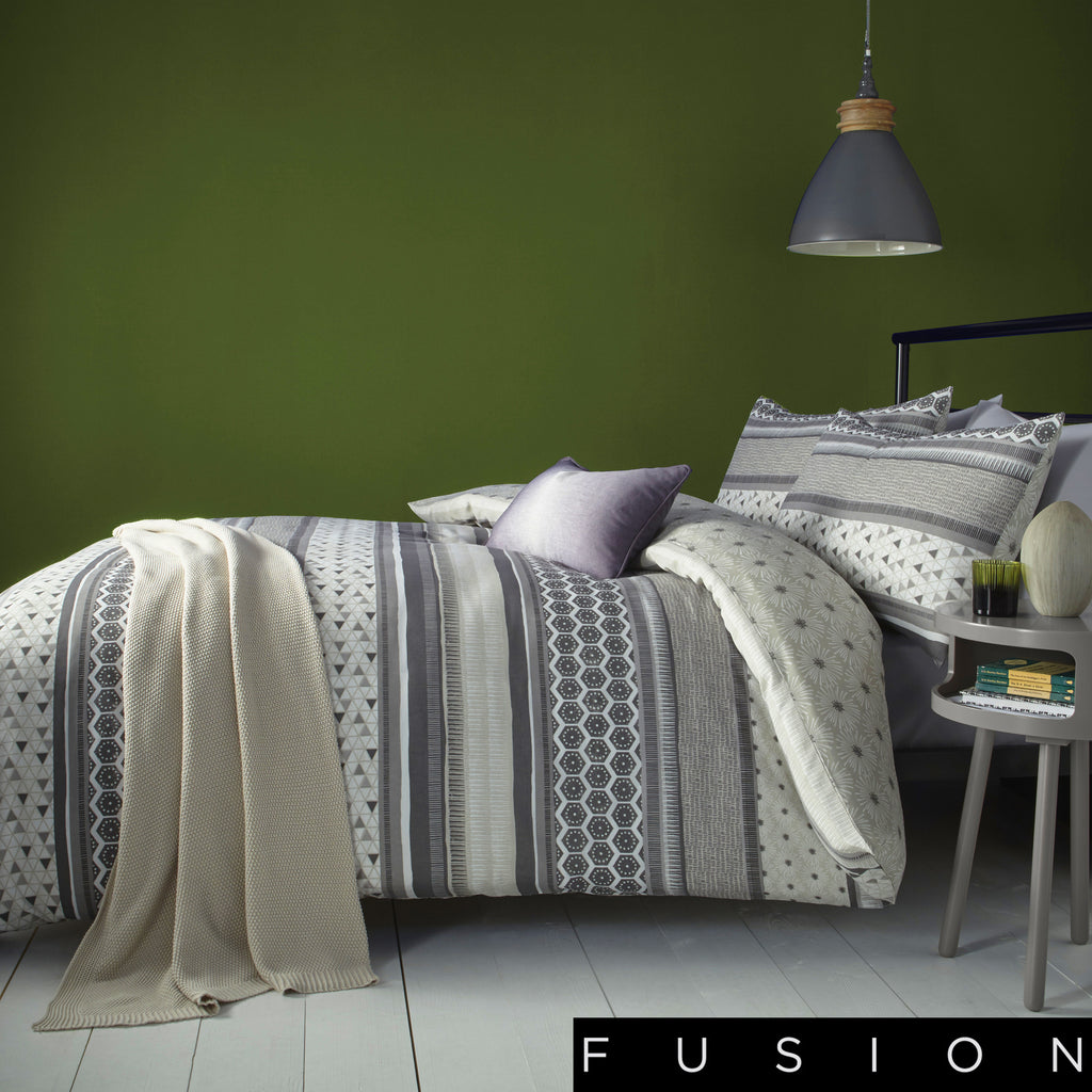 Retrace Stripe Charcoal - Easy Care Duvet Cover Set - By Fusion