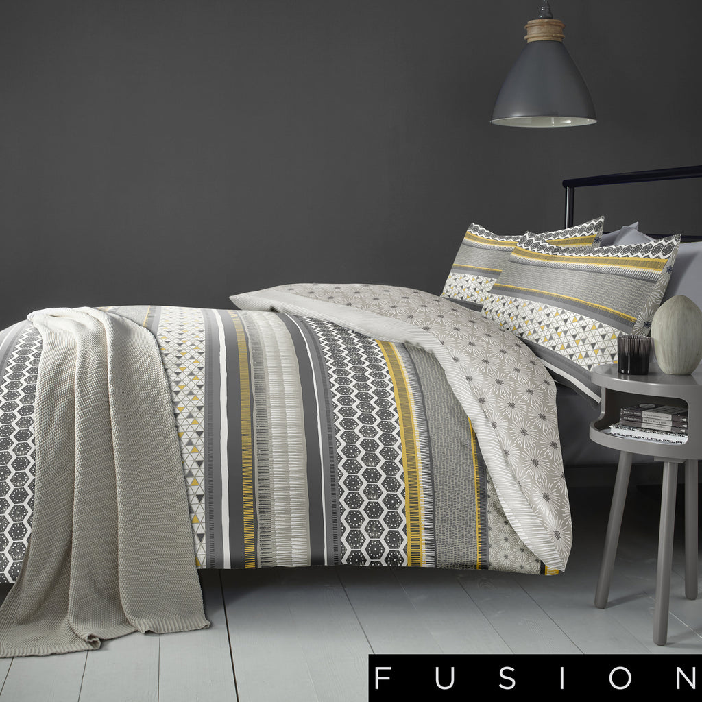 Retrace Stripe Ochre- Easy Care Duvet Cover Set - By Fusion