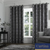 Romolo - Floral Metallic Jacquard Eyelet Curtains in Charcoal - By Curtina