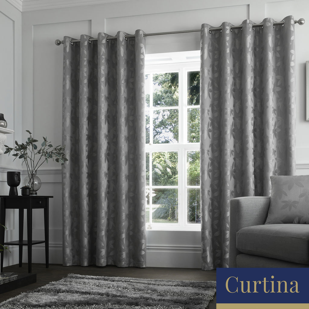 Romolo - Floral Metallic Jacquard Eyelet Curtains in Silver- By Curtina