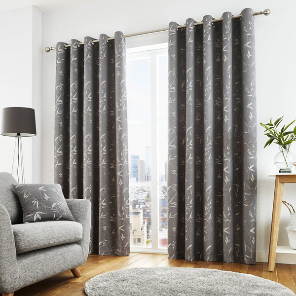 Sagano - Lined Eyelet Curtains in Graphite