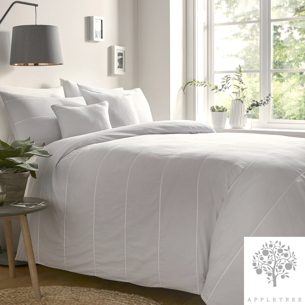 Salcombe Silver - 100% Embroidered Cotton Duvet Cover Set by Appletree Signature
