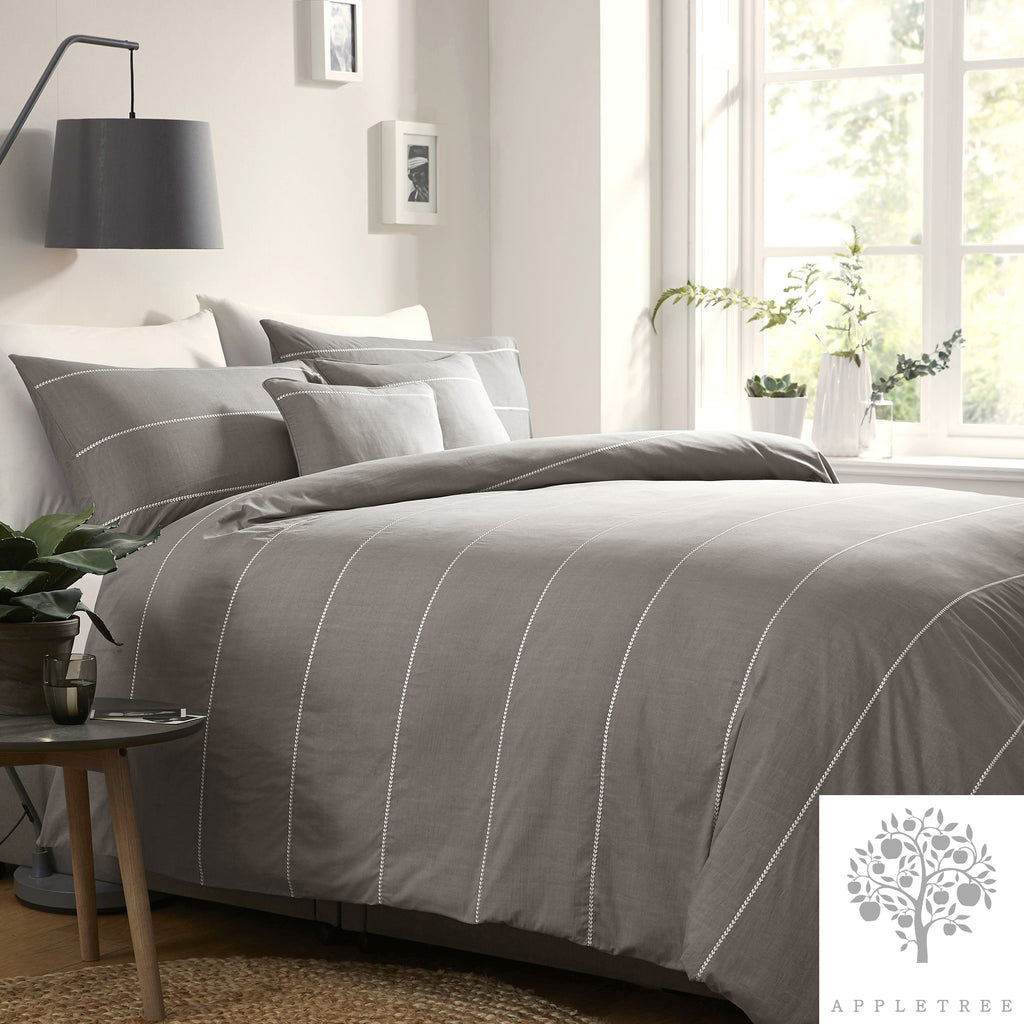 Salcombe Slate - 100% Embroidered Cotton Duvet Cover Set by Appletree Signature