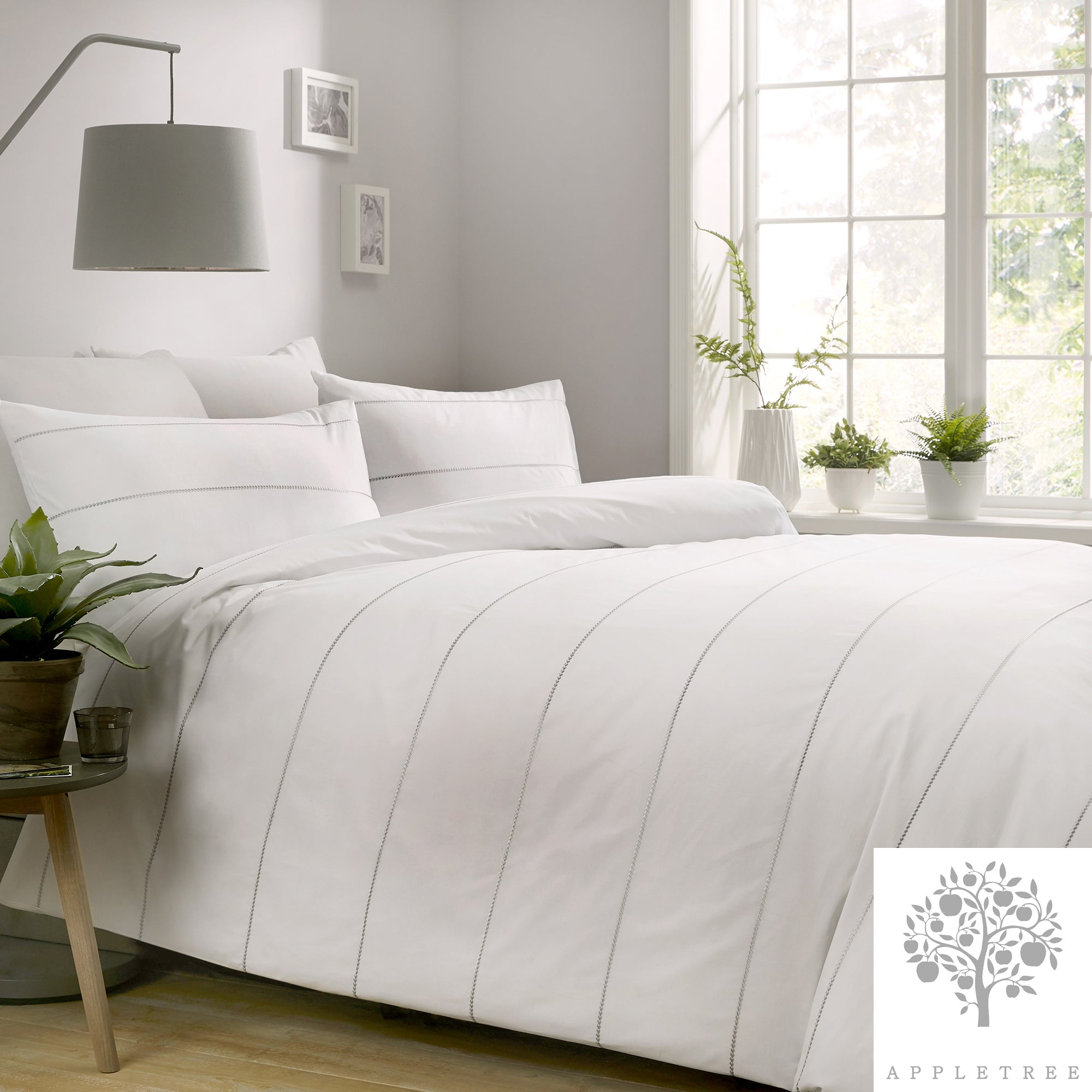 Salcombe White - 100% Embroidered Cotton Duvet Cover Set by Appletree Boutique