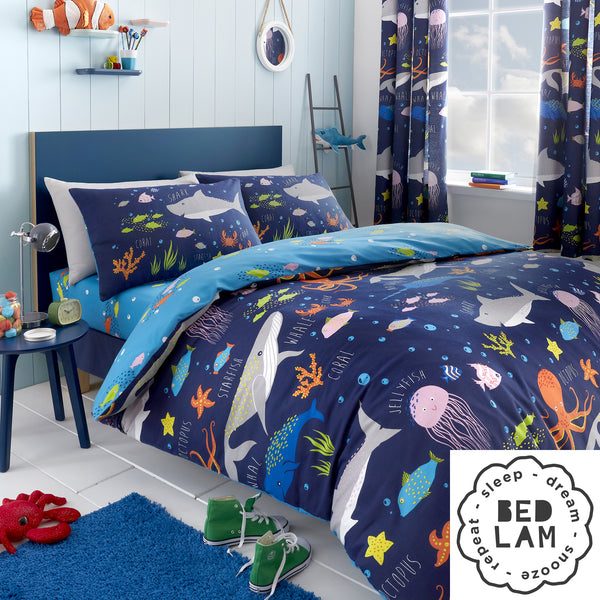 Sea Life - Glow In The Dark Duvet Cover Set, Curtains & Fitted Sheets - by Bedlam