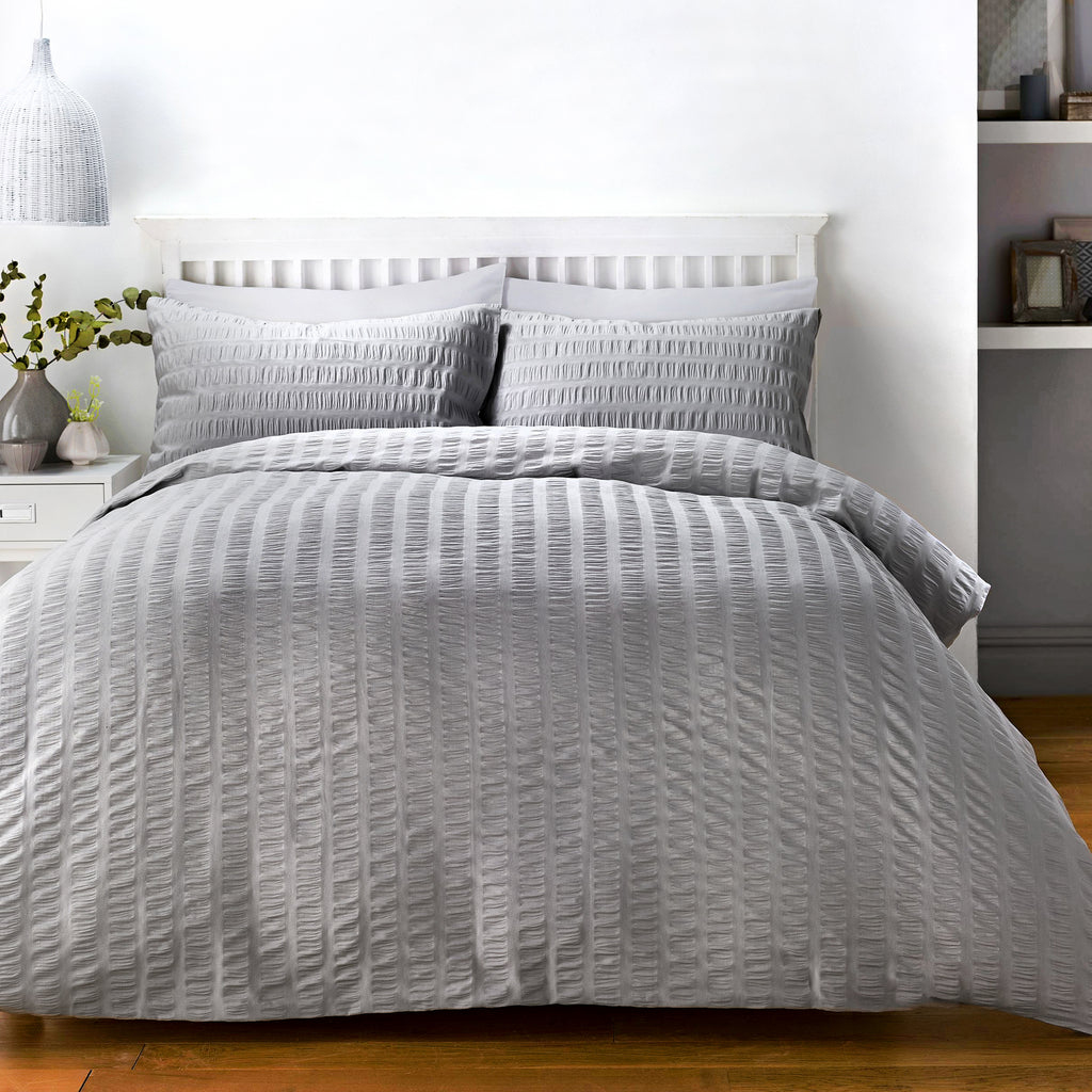 Seersucker - Easy Care Duvet Cover Set in Grey - by Serene