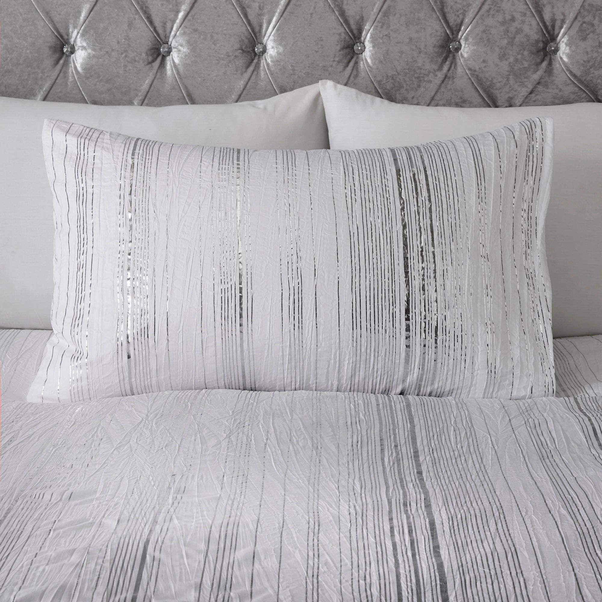 Shirley - Metallic Stripe Duvet Cover Set in Ivory - By Caprice