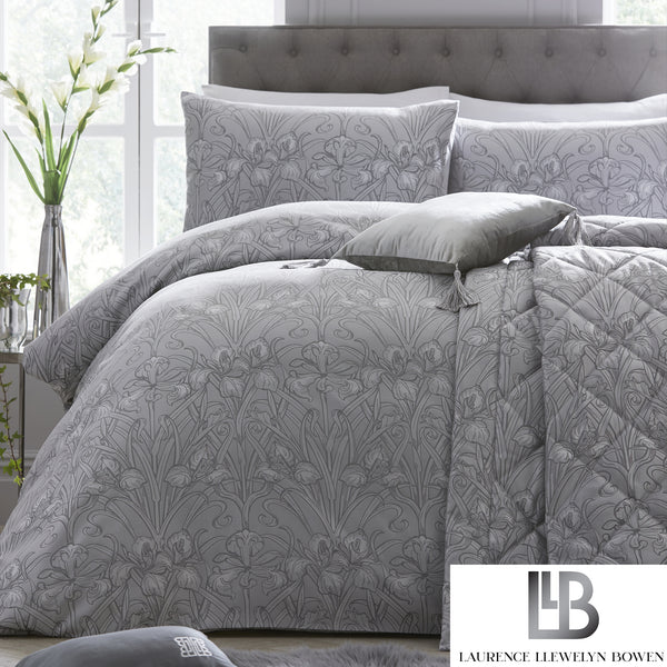 Silver Iris - Jacquard Woven Duvet Cover Set by Laurence Llewelyn-Bowen