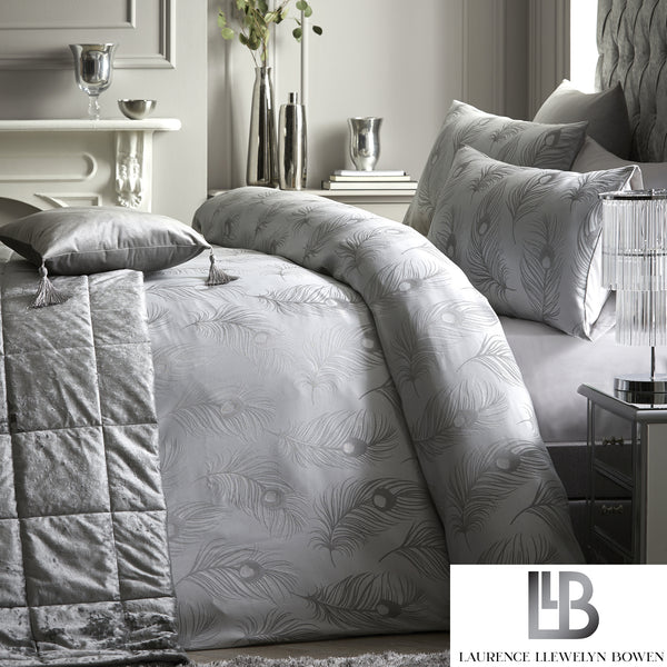 Silver Panache - Metallic Jacquard Duvet Cover Set - by Laurence Llewelyn-Bowen