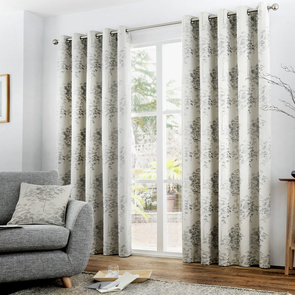 Elmwood - Lined Eyelet Curtains in Silver